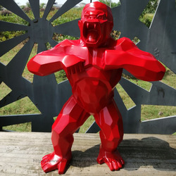 16Big Art Craft Animal King Kong Skull Gorilla Monkey Sculpture Geometric Creative Decoration Resin Collectible for Model