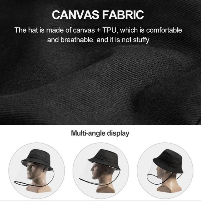 New Anti-fog Saliva Face Masks Windproof Fisherman Hat Removable Protection Cap Protective Face Shield Foldable Transparent Mask 2