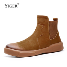 YIGER New Men Chelsea boots man ankle boots genuine leather atumn winter Brown male casual slip-on shoes men's tooling boots 382 цена и фото