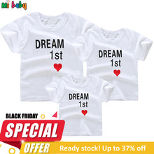 Summer Family Matching Tshirt Clothes Women Man Son Daughter T-Shirt Tops Kids Girl Boys Casual Outfits 100% Cotton Parent Cloth(China)
