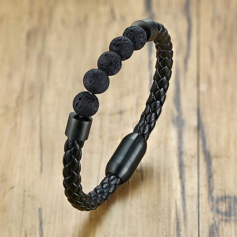 Titane acier homme Chakra bijoux en gros en acier inoxydable hommes en cuir noir volcanique perlé Bracelets en cuir pierre 2