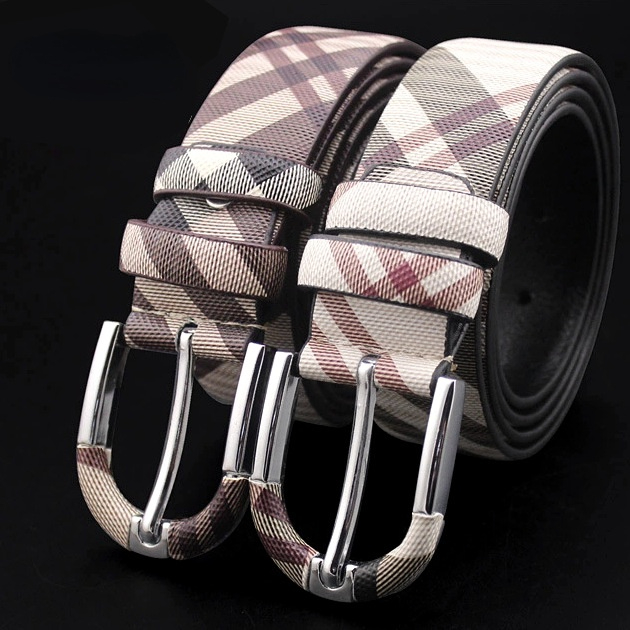 Men's and Women's Leather Belts Pin Buckle Young Couples Plaid Casual Cowhide Belt Business British Wild Belt Large Size 130Cm