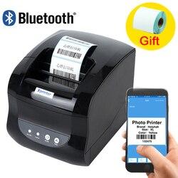 2 em 1 etiqueta impressora de código de barras impressora de recibo térmico código de barras qr adesivo papel suporte móvel android ios telefone