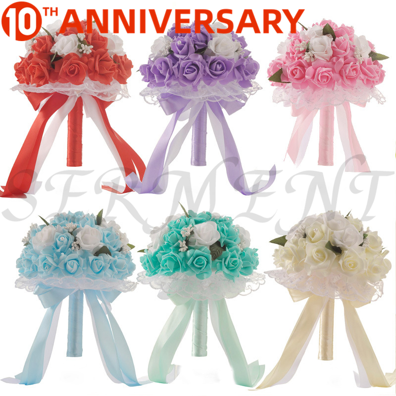 OLLYMURS Wedding Flowers Bridal Bouquets Ramos Artificiales Wedding Accessories White  Purple Cyan Blue 9.8inch Free Shipping