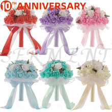 цена на OLLYMURS Wedding Flowers Bridal Bouquets Ramos Artificiales Wedding Accessories White  Purple Cyan Blue 9.8inch Free Shipping