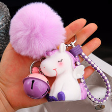 Lovely Unicorn Keychain BB Noisy Unicorn Doll Fur Pom Fluffy Ball Bell Faux Rabbit Hair Key Ring Toy For Women Girls Bag Pendant(China)