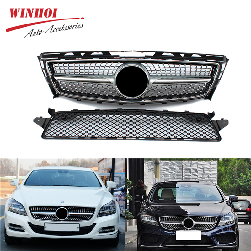 Car <font><b>Grill</b></font> Mesh for Mercedes Benz CLS Class <font><b>W218</b></font> ABS Replacement Mesh without Emblem Car Accessories Front Bumper Racing <font><b>Grills</b></font> image