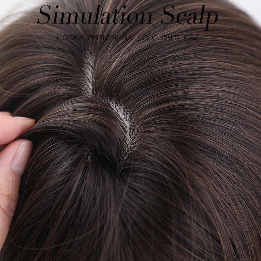 JONRENAU Sintetis Coklat Ombre Cuplikan Wig untuk Hitam Putih Medium Wanita Panjang Gelombang Alami Rambut Wig Tahan Panas Serat