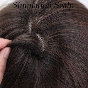 Image 5 - JONRENAU Syntheic Brown Ombre 하이라이트 가발 블랙 화이트 여성용 중간 길이 자연 웨이브 헤어 가발 내열성 섬유