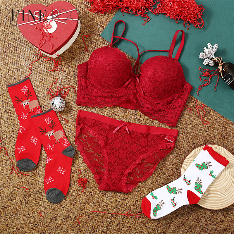 C D E Cup Plus Size Bra Women Sexy Bra Panties Set Merry Christmas New Year Bra Set Female Lingerie Suit Big Size Bralette 36-46