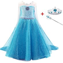 Queen Elsa Dress for Girls Cosplay Elza Costume Princess Anna Dress Kids Party Vestido Fantasia Children Elsa Halloween Clothing(China)