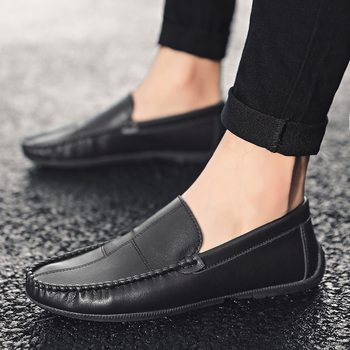Fashion Leather Casual Men Shoes Italian Peas Loafers Moccasins Soft Driving Casual Shoes Flats Business Men Shoes HC-435