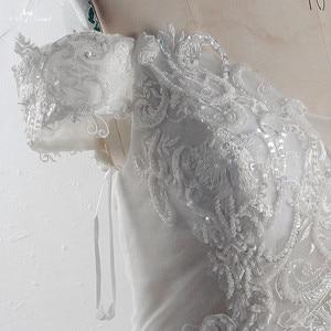 Image 5 - RSW1527 Vintage Blush Kant Trouwjurken Sweetheart Cape Mouwen Geappliceerd Tulle Boho Strand Plus Size Sexy Vestios De Novia