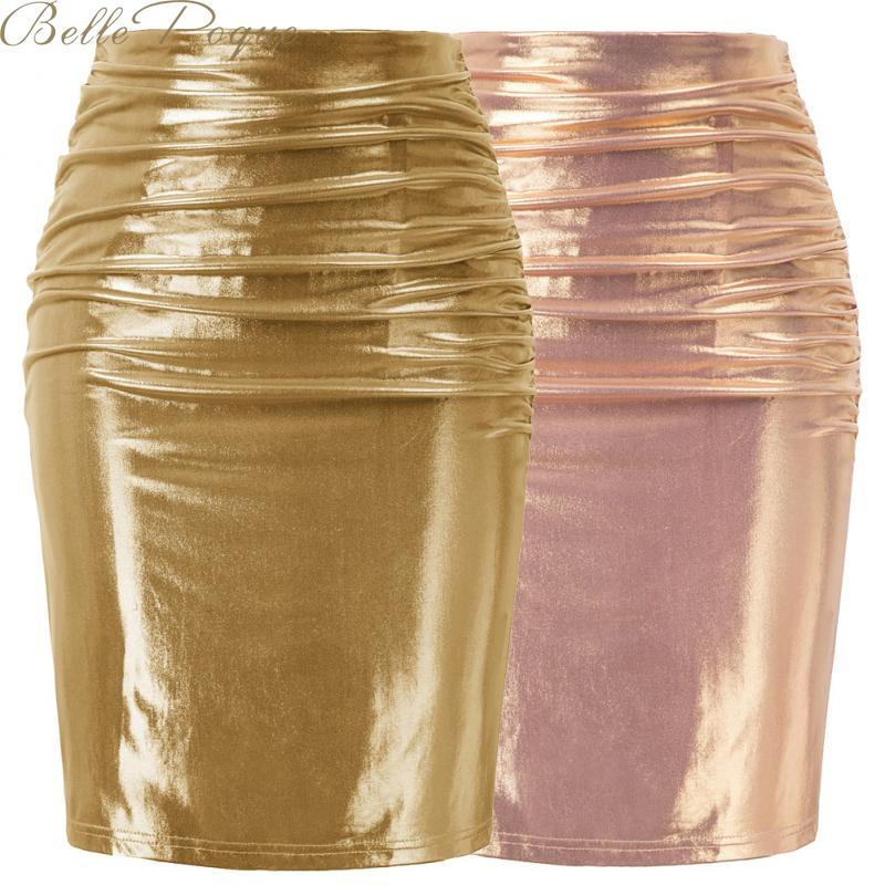 Belle Poque Pencil Skirts Women Gold Sequined Sexy Skirts Bodycon High Waist Party Skirts Office Ladies Skirts Women Clothing