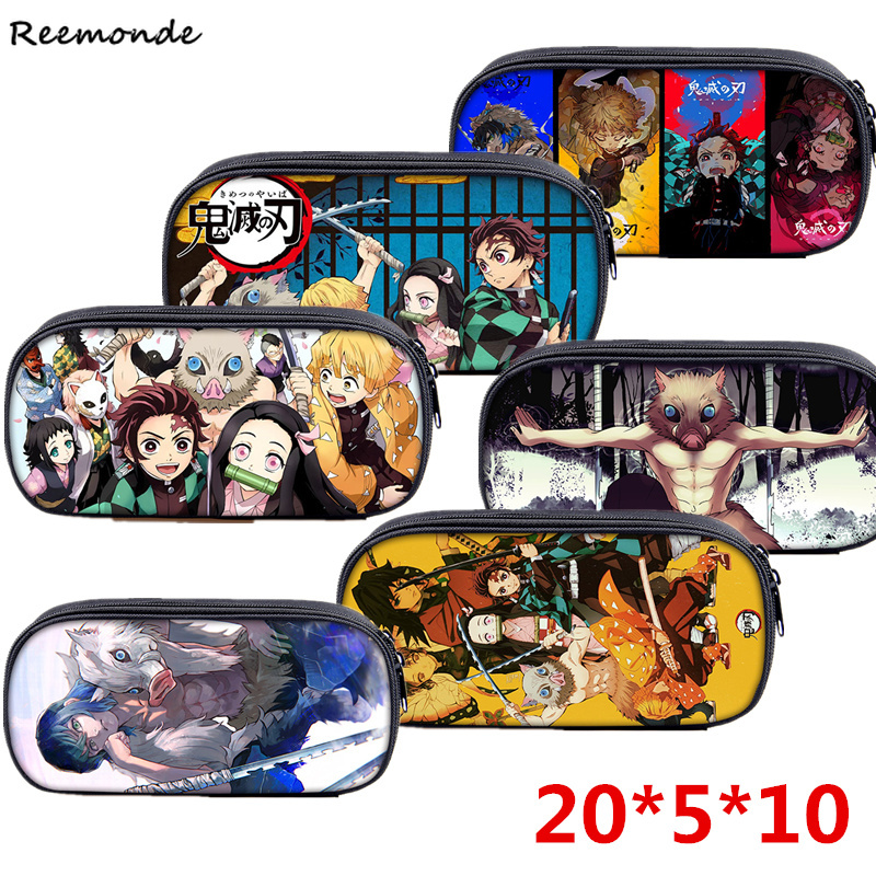 Demon Slayer Kimetsu No Yaiba Pencil Case Canvas Zipper Bag Cosplay Girls Travel Storage Bags Tanjirou School Pen Box Kids Adult