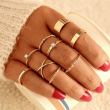 Vintage Gold Color Knuckle Rings Set For Women Geometric Round Twist Weave Finger Ring