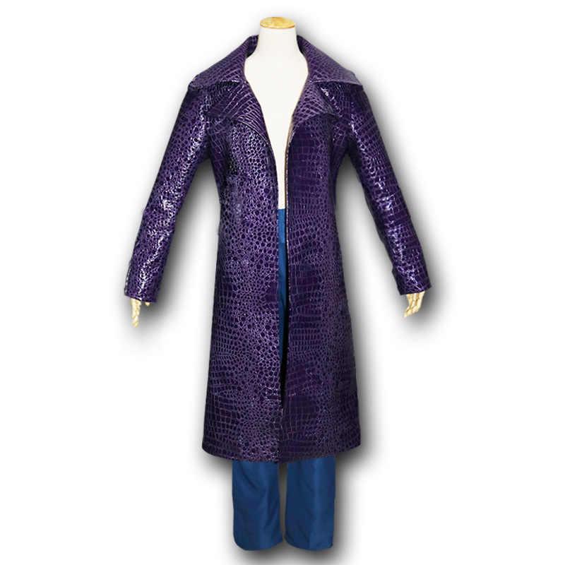 Hombres payaso suicida Squad Joker Cosplay disfraces gabardina chaqueta púrpura payaso camisetas disfraces de Halloween