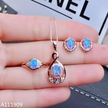 KJJEAXCMY boutique jewelry 925 sterling silver inlaid Natural Opal Necklace Ring Earring Suit Support Detection