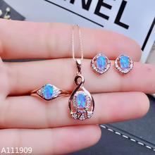 KJJEAXCMY butik takı 925 ayar gümüş kakma Doğal Opal Kolye Yüzük Küpe Takım Elbise Destek Algılama