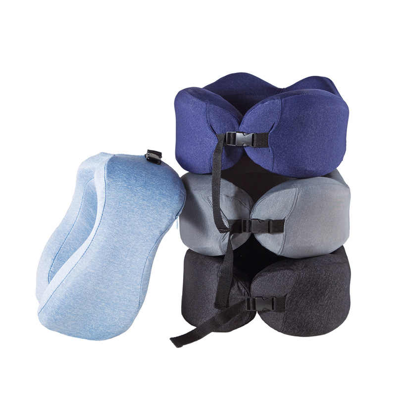 低反発トラベルネックサポート枕を保護するための快適なスローリバウンド U は形状飛行機枕ネックヘッドレストクッション