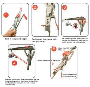 Image 5 - New Full Stainless Steel Automatic Spring Fishing Rods Holders, Adjustable Sensitivity Folding Fishing Bite Bracket
