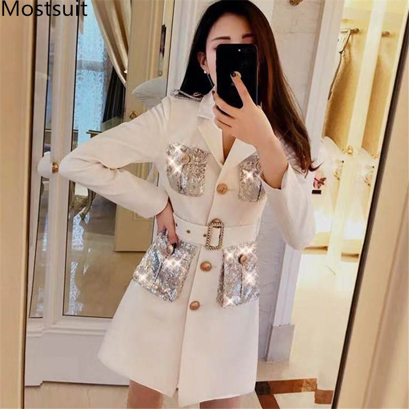 2020 Spring Runway Fashion White Sequins Blazer Dress Women Long Sleeve Turn-down Collar Pockets Belted Buttons Mini Dresses