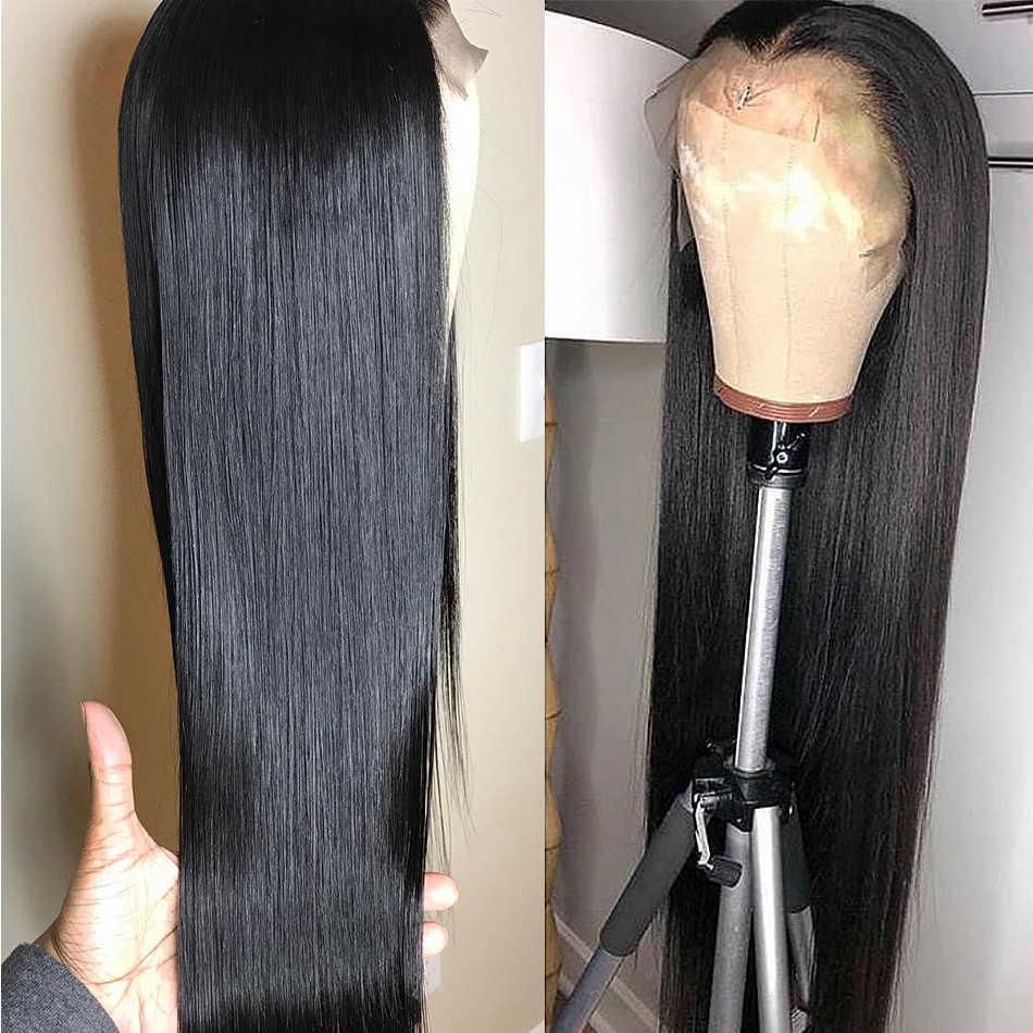 Peluca con malla Frontal recta de 32 pulgadas, pelucas de cabello humano brasileño de 36 pulgadas, peluca Frontal de cabello humano prearrancado 13x4, 150%