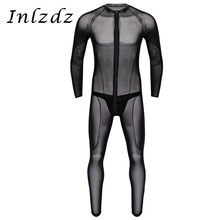 Mens See Through Sheer Mesh Lingerie Round Neck Long Sleeves Leotard Bodysuit Jumpsuit with Faux Leather Thong Briefs Underwear(China)