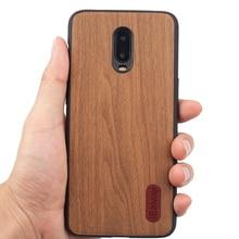 Para OnePlus 6T moda Retro de madera diseño de la caja del teléfono 1 + 6T PC contraportada para OnePlus 6T de silicona suave borde proteger conchas Coque