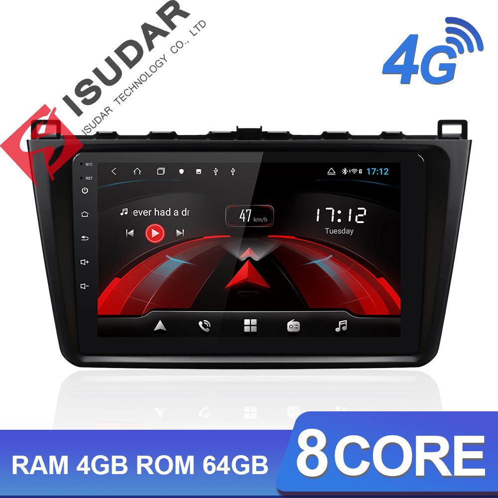 Isudar H53 4G Android 1 Din Auto Radio For Mazda 6 2 3 GH 2007-2012 Car Multimedia GPS 8 Core RAM 4GB ROM 64GB Camera DVR DSP image