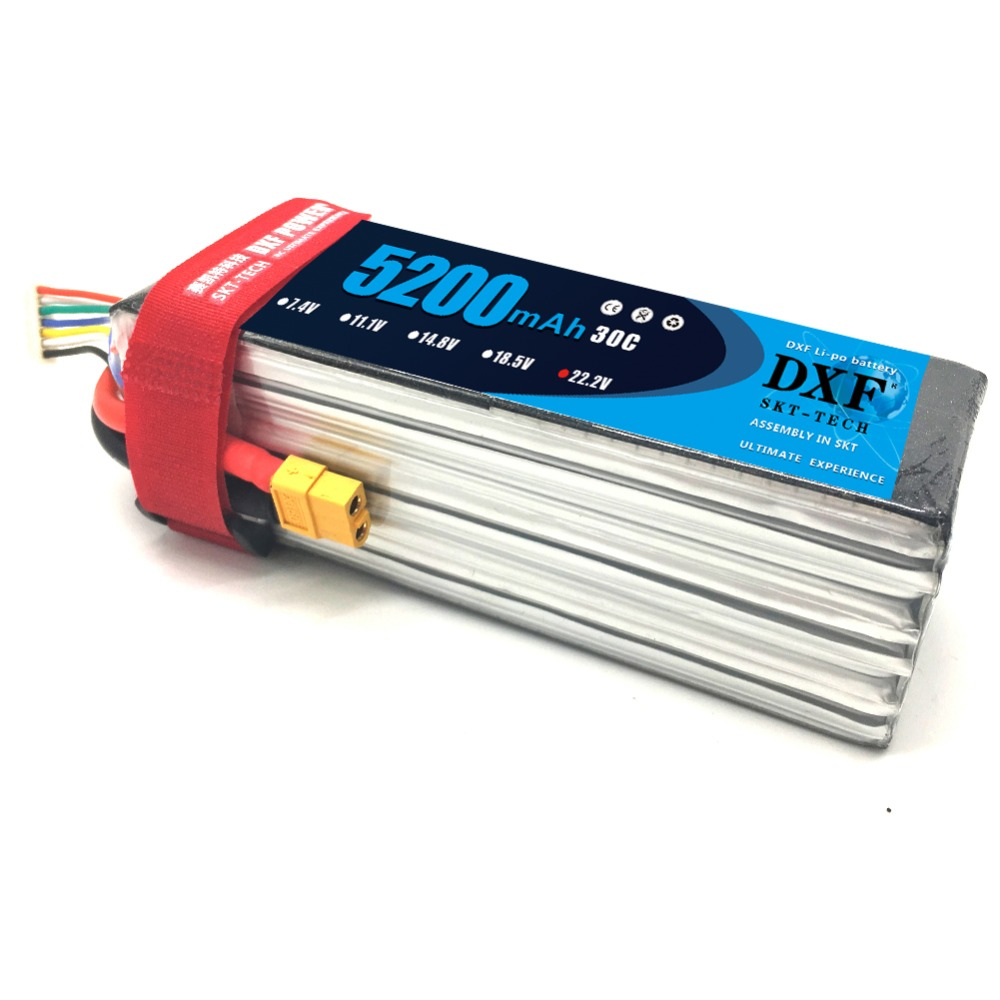 DXF 6S Lipo Battery 22.2V 5200mah 30C Max60C For Helicopter RC Model Airplane Quadcopter Drone image