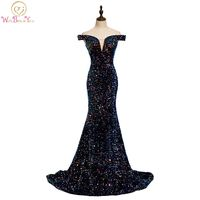 Elegant Long Prom Dresses 2020 Sequined Mermaid Off Shoulder Sweetheart Sweep Train Evening Gown Graduation Gala Walk Beside You