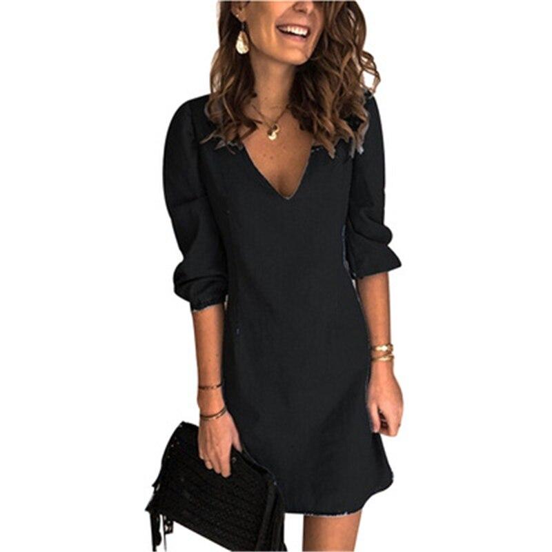 Женское мини платье большого размера свободное повседневное
