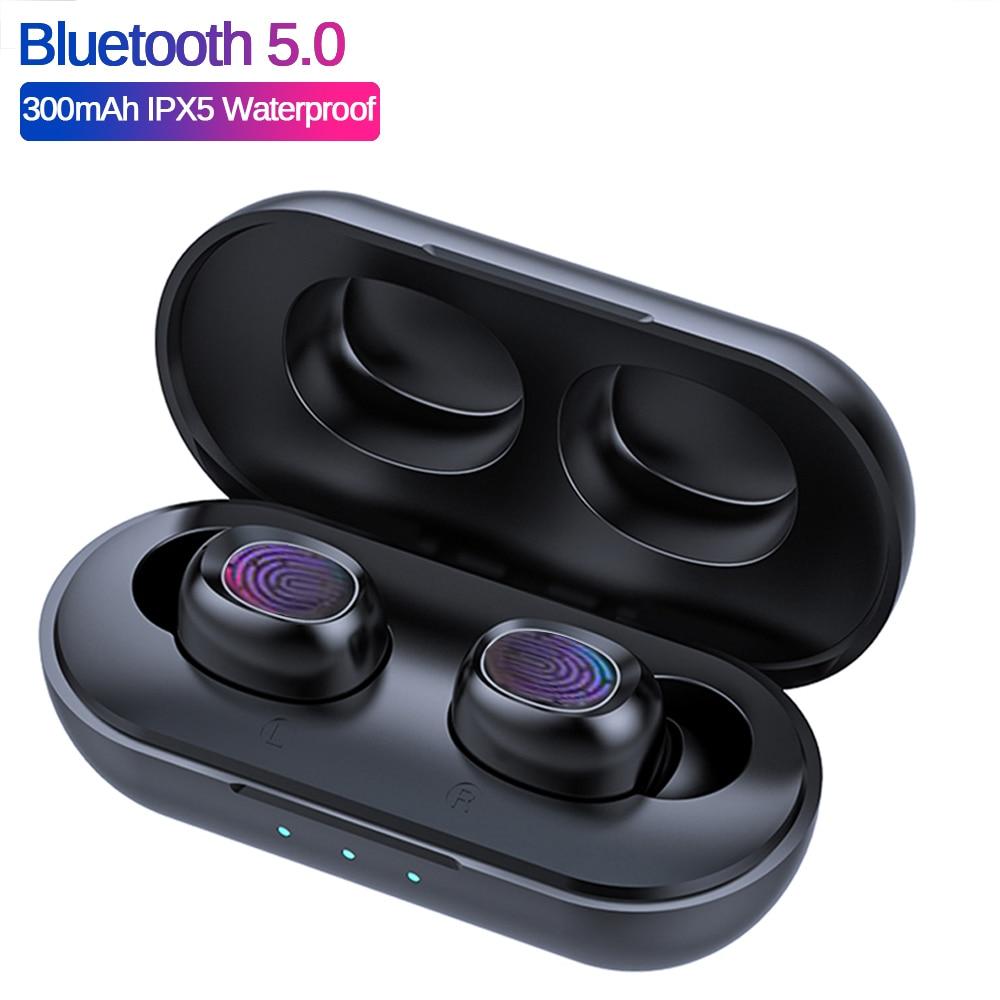 B5 TWS Bluetooth Drahtlose Kopfhörer 5,0 Touch Control Ohrhörer Wasserdichte 9D Stereo Musik Headset 300mAh Power Bank