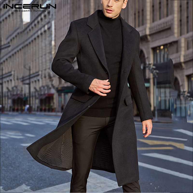 INCERUN Winter Men Coats Warm Fake Wool Jackets Plain Long Sleeve Faux Fleece Streetwear Fashion Men Long Trench Overcoats 2020