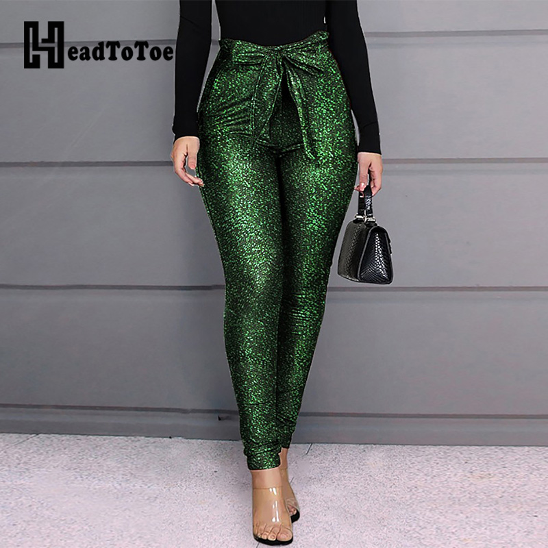 High Waist Belted Glittering Pants Women Skinny Casual Pencil Pants