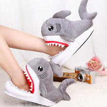 Winter Super Animal Funny Shoes For Men and Women Warm Soft Bottom Home Slipper House Indoor Floor Shark Shape Slippers SH08242(China)