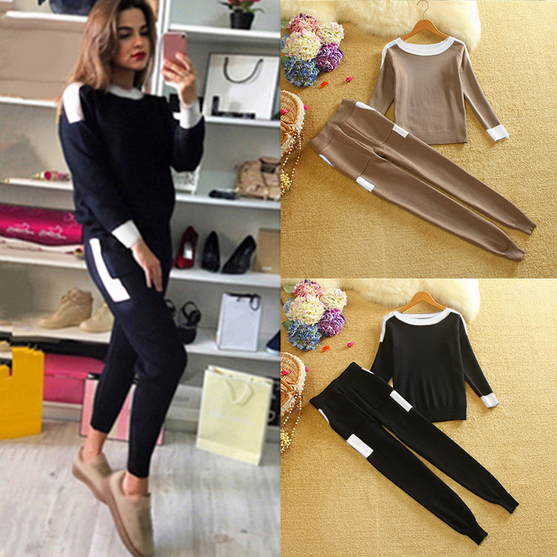 Oeak Women Two Piece Sweater Suits Knit Casual Tracksuits Crewneck Pullovers Drawstrings Elastic Pants Sets Female Outfits
