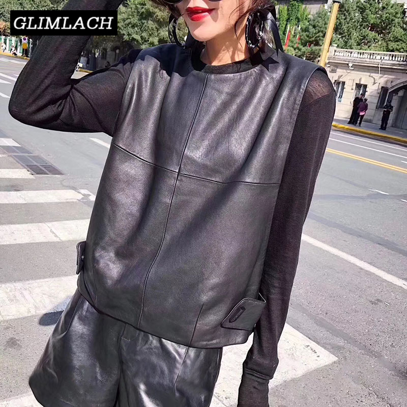 Women Genuine Leather Waistcoat Sheepskin Loose Fit Pullover Sleeveless Jacket Lady Autumn Short Leather Vest Streetwear Tops