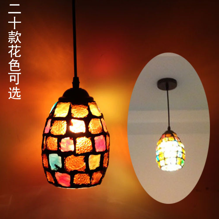 Color Mosaic Bohemian Pendant Light Restaurant Cafe Bar Aisle Balcony Retro Hang Light Mediterranean Creative Pendant Lamp
