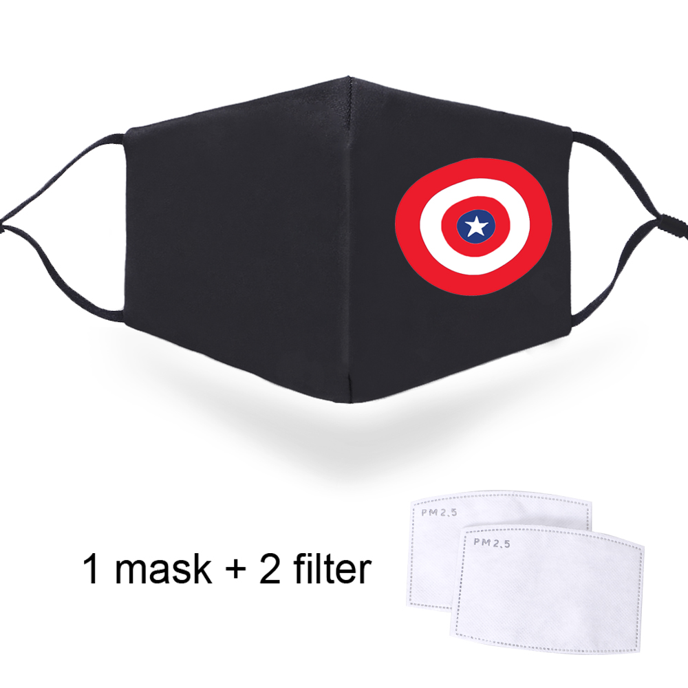 Captain America Marvel Face PM2.5 Masks Dustproof Washable Male Mouth Muffle With 2 Filters Breathable 2020 Adult Soft Masks