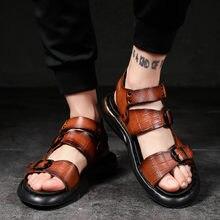 Летние сандалии; Мужские классические римские сандалии из натуральной
