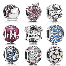 New 100% 925 Sterling silver Shiny  Familiy Love charms Fit Pandora Bracelet Beads For Jewerly Making
