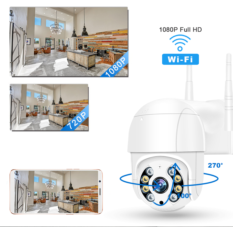 Smar 1080P Outdoor PTZ Wireless IP Camera 4X Digital Zoom Speed Dome Mini WiFi Security CCTV Audio Camera Auto tracking of Human (2)