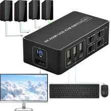 4 Port KVM Switch 4K USB KVM Switcher 4 en 1 USB caliente para ratón teclado para win7 win10 para MAC