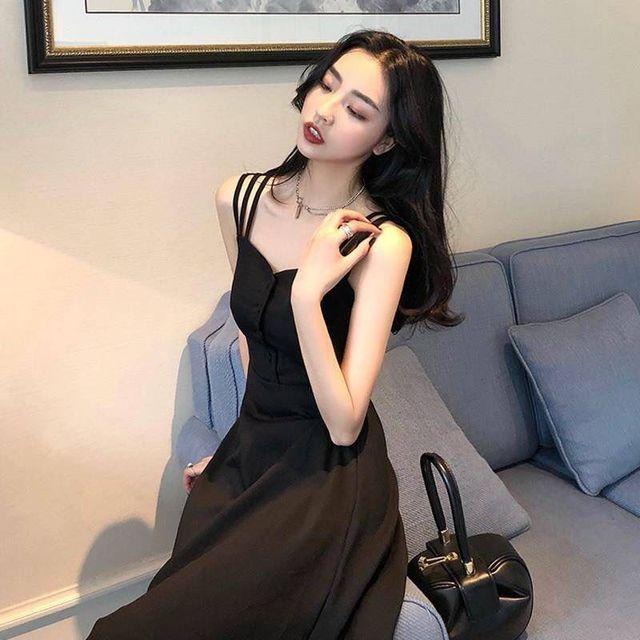 2021 summer new black fashion temperament slim slim dress sexy suspender dress long strapless dress 1