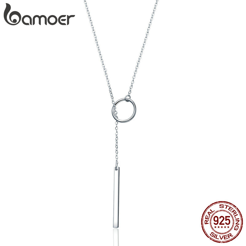 BAMOER, collar con colgante geométrico de Plata de Ley 925 auténtica, circular, para mujer, joyería de plata fina SCN304