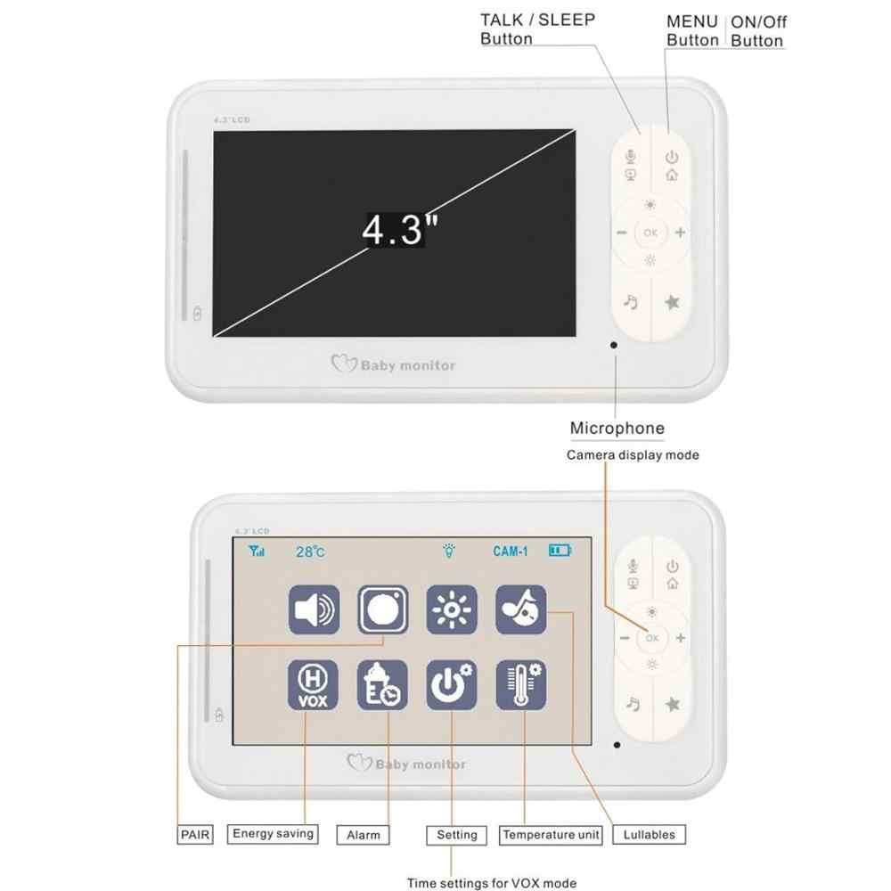 IMPORX 4,3 дюймов ЖК беспроводной детский монитор камера няня Радио Видео няня камера ночного видения контроль температуры Колыбельная