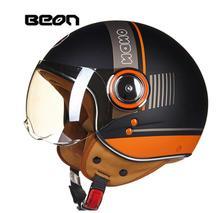 BEON Retro Motorcycle Helmet Vintage 3/4 Open Face Scooter Moto Biker Helmets Men Women Motorbike Visor