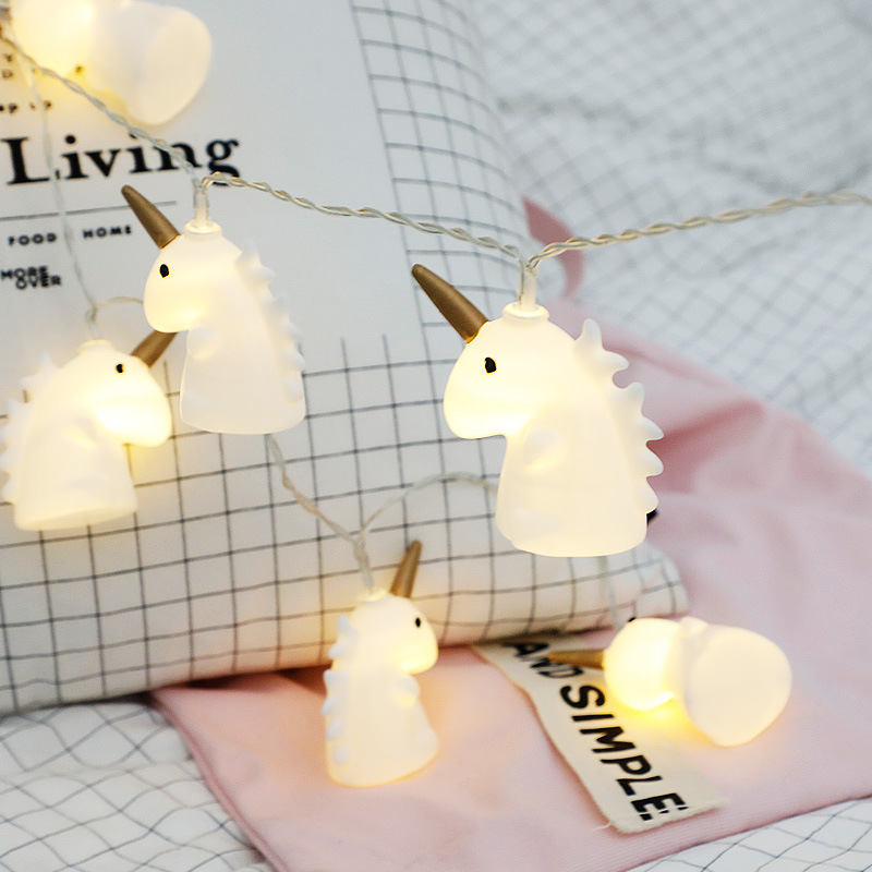 3D Unicorn LED Garland Christmas String Lights Indoor DIY Xmas Tree Party Wedding Bedroom Home New Year Decoration Battery Lamp